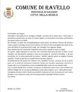 LETTERA-SINDACO-RAVELLO-soslidarietà-onlus